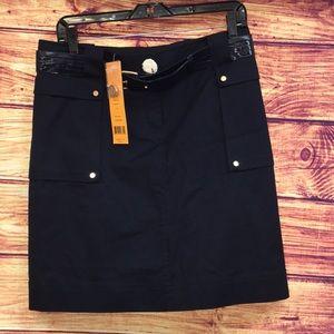 NWT Tory Burch Navy Khaki Patterson Skirt
